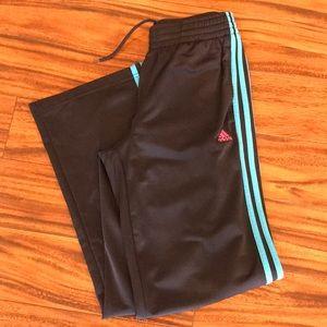 Black Adidas athletic pants with blue stripe